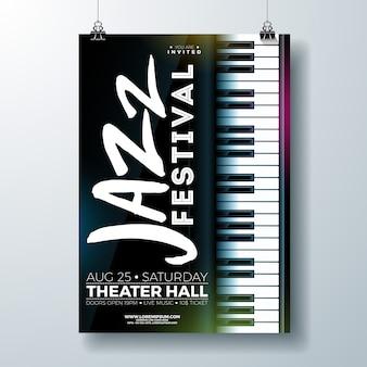 Jazz music festival flyer design com teclado de piano