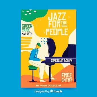 Jazz para o cartaz de jazz desenhado à mão de pessoas