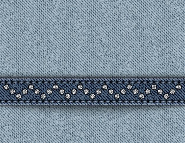 Jeans azul com riscas com pontos e lantejoulas