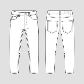 Jeans clássicos. desenho técnico.