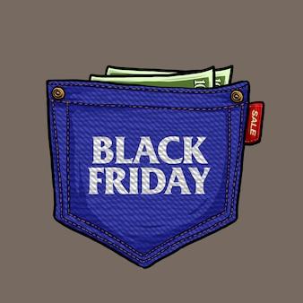 Jeans de bolso com dinheiro para sexta-feira negra