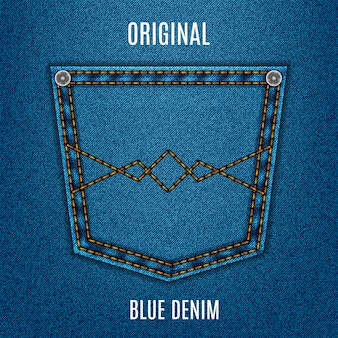 Jeans textura cor azul com bolso, denim