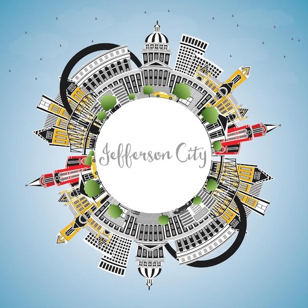 Jefferson city missouri skyline com edifícios de cor, céu azul e espaço de cópia. ilustração