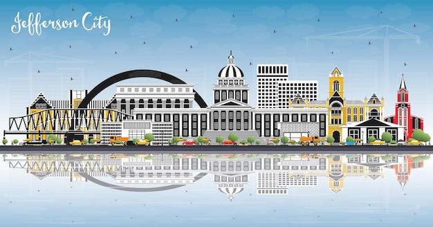 Jefferson city missouri skyline com edifícios de cor, céu azul e reflexos. ilustração