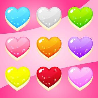 Jelly forma corações nove cores para jogos de quebra-cabeça.