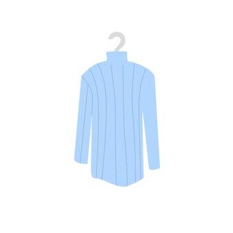 Jérsei liso na moda de desenho vetorial no cabide. novo vestuário bonito da moda isolado em uma loja de roupas de fundo vazio, conceito de compras e moda, design de banner de site da web