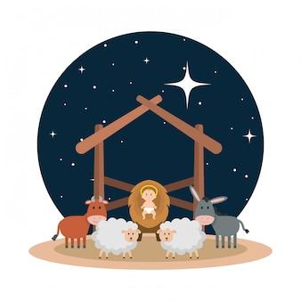 Jesus, bebê, em, estável, com, sheeps, e, animais