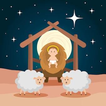 Jesus, bebê, em, estável, com, sheeps