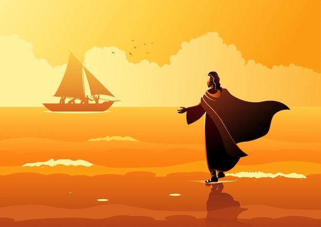 Jesus cristo, andar, ligado, água