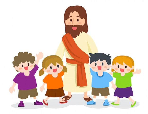 Jesus cristo, com, grupo crianças