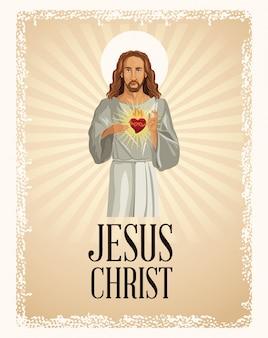 Jesus cristo, coração sagrado, vintage