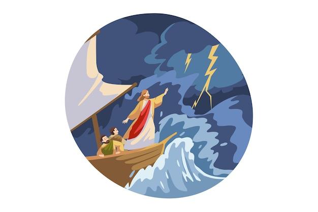Jesus cristo, filho de deus, personagem bíblico religioso protegendo o navio com os marinheiros das ondas de tempestade, relâmpagos e trovões.