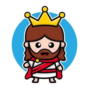 Jesus cristo fofo com o personagem de desenho animado da coroa de reis