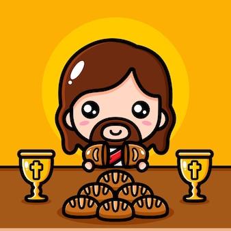 Jesus cristo fofo compartilhando pão