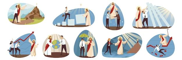 Jesus cristo, personagem religioso bíblico ajudando a proteger