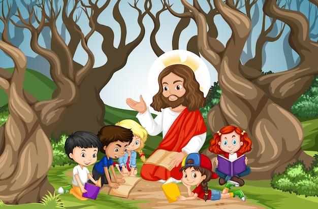 Jesus pregando para um grupo de crianças na cena da floresta