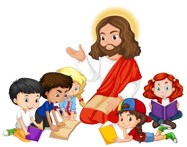 Jesus pregando para um personagem de desenho animado de um grupo de crianças
