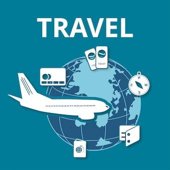 Jet em torno do globo travel infographics