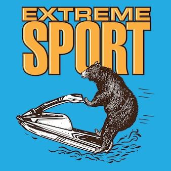 Jet ski de equitação de urso