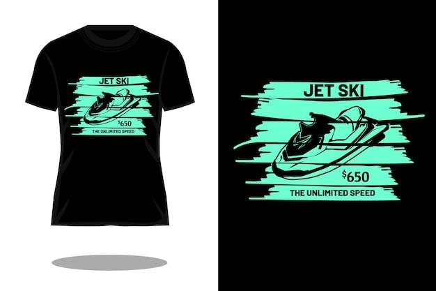 Jet ski o design retro da silhueta ilimitada de t-shirt