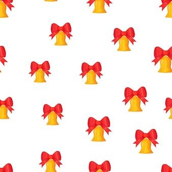 Jingle bell dourado com laço vermelho sem costura padrão de natal