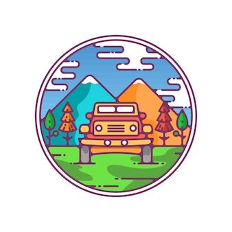 Jipe de ícone de cenário nas montanhas