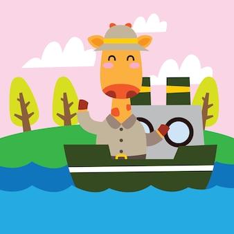 Jirafa bonito da aventura dos desenhos animados em um barco