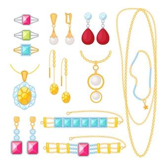 Joalheria. loja cara com joias de ouro pulseiras mulher casamento joias com diamantes itens de desenhos animados do vetor. joias e presente de ouro, coleção pulseira ilustração de moda