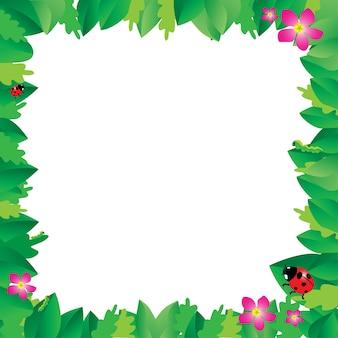 Joaninha em folhas com moldura de folhas verdes.