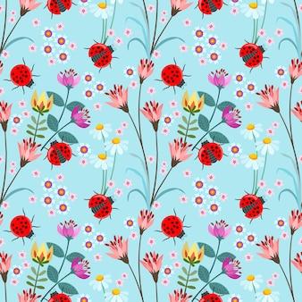 Joaninha sem costura com ilustração em vetor flor padrão