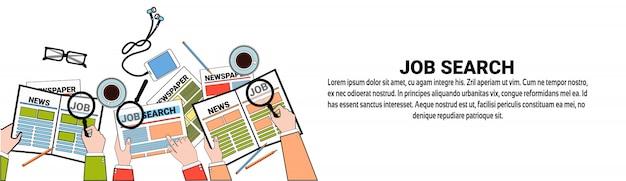 Job search web banner template conceito de posição de vaga de negócio
