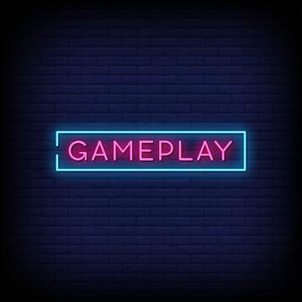 Jogabilidade sinais de néon estilo texto