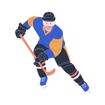 Jogador adulto do sexo masculino de hóquei no gelo como atacante ou defensor