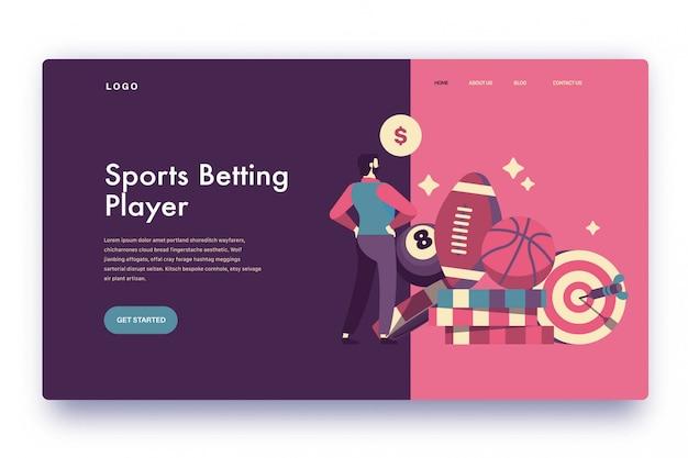 Jogador de apostas esportivas na página de destino