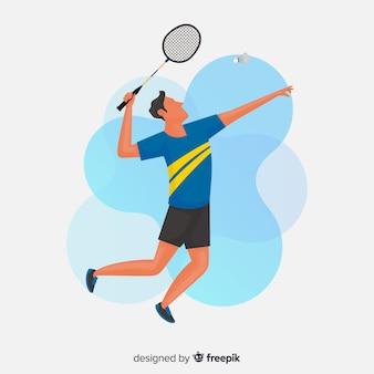 Jogador de badminton com raquete e penas