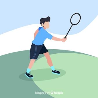 Jogador de badminton plana com raquete