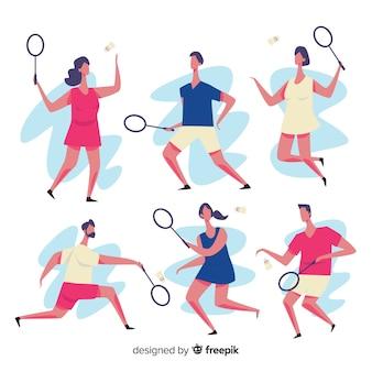 Jogador de badminton plana com uma coleção de raquete