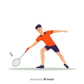Jogador de badminton plana com uma raquete