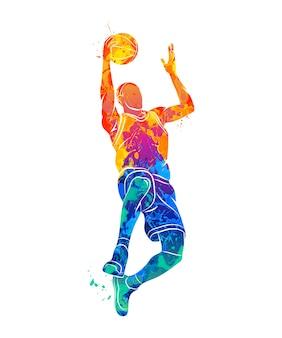 Jogador de basquete abstrato com bola de respingo de aquarelas. ilustração de tintas.