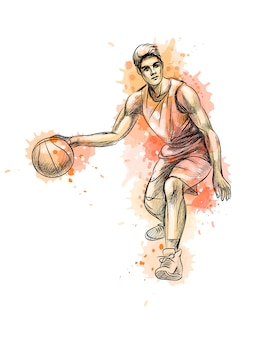 Jogador de basquete abstrato com bola de um toque de aquarela, esboço desenhado de mão. ilustração de tintas