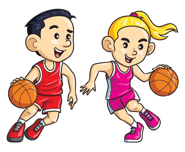 Jogador de basquete cartoon de crianças