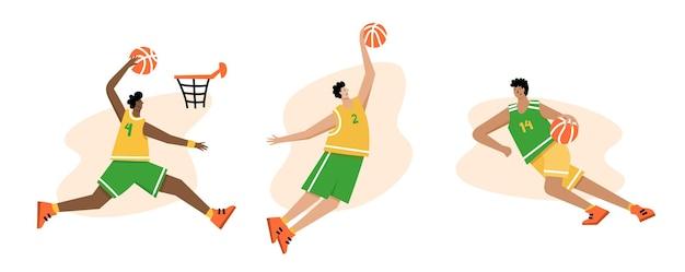 Jogador de basquete com bola. cartaz do campeonato de basquete masculino, banner de esporte