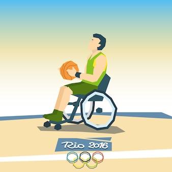 Jogador de basquete com deficiência na competição de esporte de cadeira de rodas