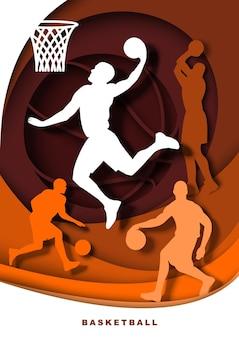 Jogador de basquete com silhuetas de bola ilustração vetorial em papel arte estilo slam dunk shot dribbl ...