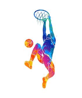 Jogador de basquete de silhueta com bola de respingos de aquarelas. ilustração de tintas.
