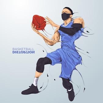 Jogador de basquete distorcido