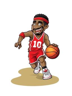 Jogador de basquete dos desenhos animados está se movendo drible com um sorriso