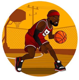 Jogador de basquete, driblando a bola