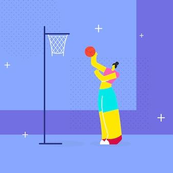 Jogador de basquete feminino plana
