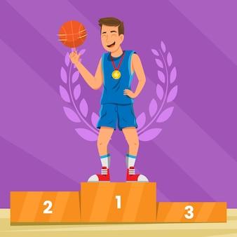 Jogador de basquete plana em um pódio